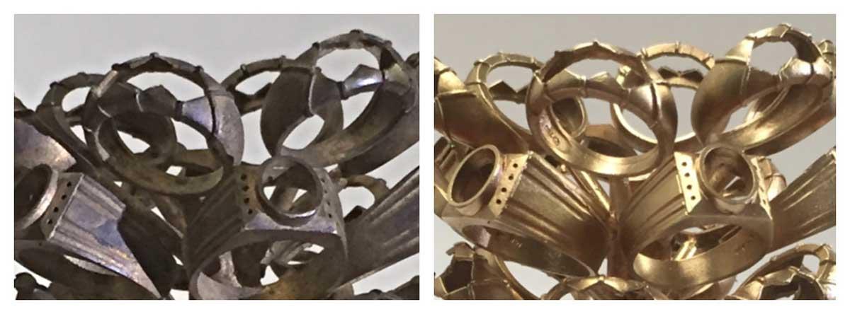 Smykker før og efter AquaNife vandpolering