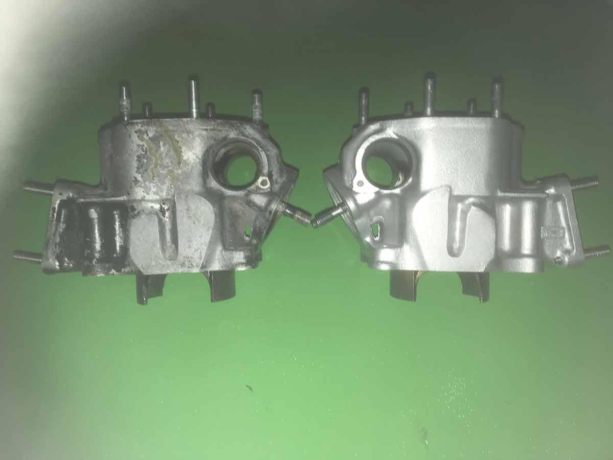 Yamaha RD350ypvs cylinder - Før og efter vandpolering
